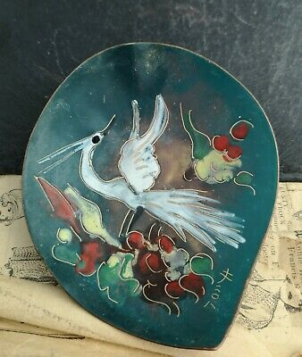 Antique Japanese enamelled copper lotus dish, crane