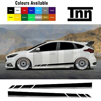 Side Stripes Stickers Vinyl Graphics For Ford Focus Fiesta ST RS Mk3 MK2 Turbo