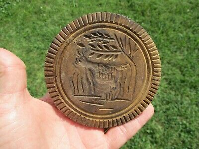 "Antique Primitive Carved 4-1/8"" Cow Butter Stamp Mold"