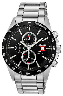Citizen Men's Quartz Chronograph Tachymeter Black Dial 42mm Watch AN3648-52E