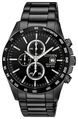 Citizen Men's Quartz Chronograph Black Multi Dial Bracelet 42mm Watch AN3645-51E