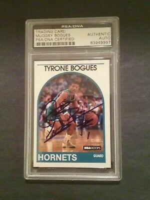 Tyrone Muggsy Bogues autographed hoops card authentic PSA