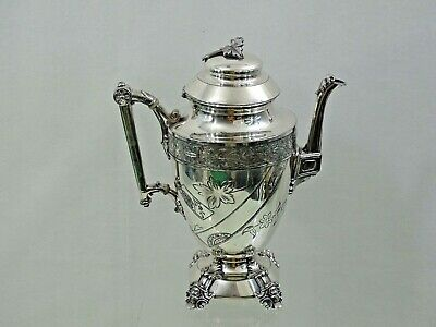 ANTIQUE AMERICAN SILVER PLATED TEAPOT / COFFEE POT very fine quality 1870s