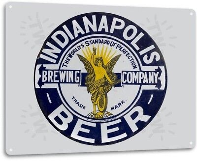 Indianapolis Brewing Beer Logo Retro Bar Man Cave Wall Decor Large Metal Sign