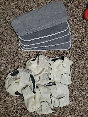 Kawaii Green Baby VELOUR Charcoal Cloth Diapers Lot Of 5 With 6 Liners 11 pieces