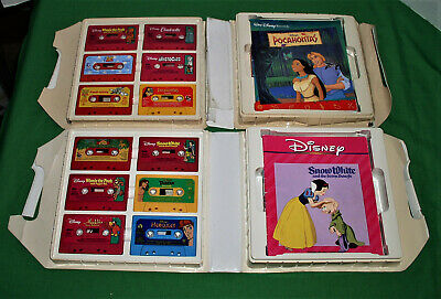 2 Vintage Vinyl Cases w/12 Disney Read Along Audio Cassette Tapes & Books