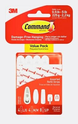 (Lot Of 3 Packs) 3M Command (16 Assorted Wall Mounting Refill Strips) 17200-Es