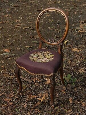 ALL ORIGINAL antique Victorian balloon back, CARVED mahogany or walnut chair