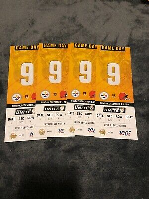 (4) Pittsburgh Steelers vs Cleveland Browns Tickets 12/01/19 Aisle Seats!