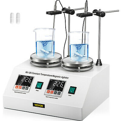 2 Heads Magnetic Stirrer Hot Plate Digital Heating Mixer Dual Controls 2*20w