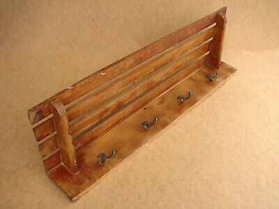 Old Antique Vintage Primitive Wooden Rack Wall Hanger Door Hooks Stand Shelf