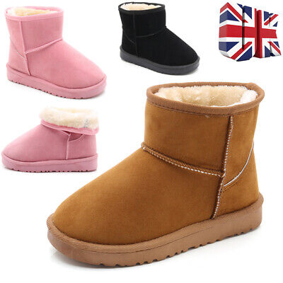Uk Kids Boys Girls Winter Fur Comfort Warm Winter Slippers Shoes Toddler Boots