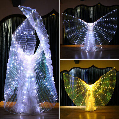 LED  Wings Belly Dance Cosplay Glow Show Light Up Costume Include Sticks