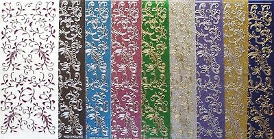Sparkle Glitter Shimmer Leaf Flourish PEEL OFF STICKERS Borders Corners