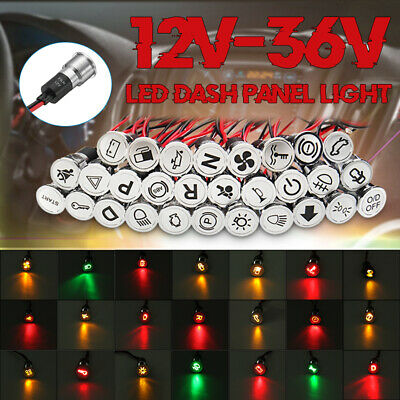 Pre-wired 12V 16mm LED Dash Panel Warning Pilot Light Indicator Car Boat Truck