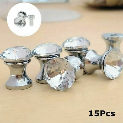 15Pcs Small Knobs Crystal Pulls With Screw Wardrobe Cabinet Drawer Decor 12mm