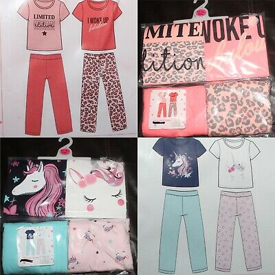 2 Pack of Girls Pyjamas/Teenage PJs in a Choice of 2 Styles Sizes 7-15 years