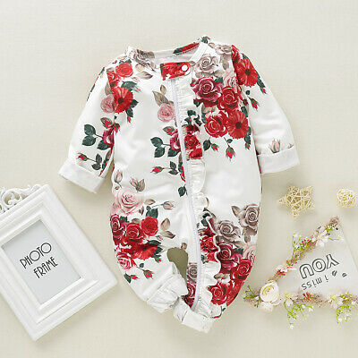 Newborn Baby Girl Long Sleeve Floral Romper Bodysuit Playsuit Jumpsuit Outfit