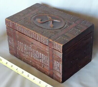 Antique wooden humidor Black Forest mahogany tobacco smoking pipe box 19th c.