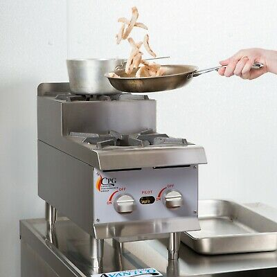 """12"""" NATURAL GAS Step-Up Countertop Range / Hot Plate with 2 High Output Burners"""