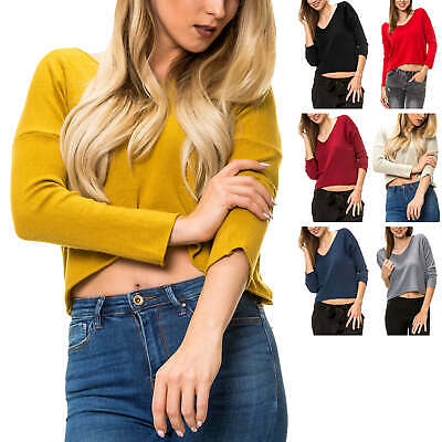 HailYs Femmes Chemise manches longues shirt tricot fin pull top rayé Color Mix SALE
