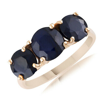 Christmas Special 3.42 Ct Blue Sapphire Three Stone Ring 14K Rose Gold Sz 9