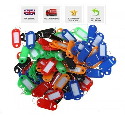 Key Tags Plastic ID Tags Name Label Key Ring Fob Tag Assorted Colours *UK Stock*