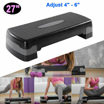 """27"""" Aerobic Stepper Adjust 4"""" - 6"""" Indoor Cardio Step Fitness Exercise w/Risers"""