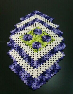 Handmade crochet natural and purple table runner with flowers