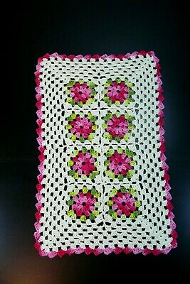 Handmade crochet ivory and pink table runner with flowers