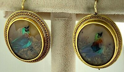 Antique ETRUSCAN Cameo Earrings~18K Yellow Gold with Real Bird Feather Designs