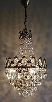 French Basket Style Vintage Brass & Crystals Chandelier Antique Lamp
