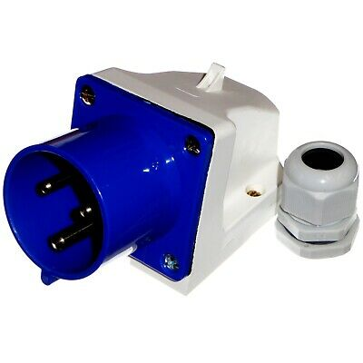32A Appliance Socket Inlet 3 Pin 230v 2P+E Single Phase 32 Amp IP44 Outdoor Blue