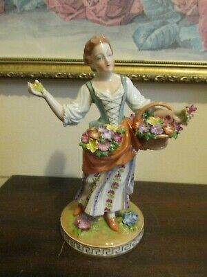 Antique Carl Thieme Dresden German Porcelain Figurine Girl  With Flowers