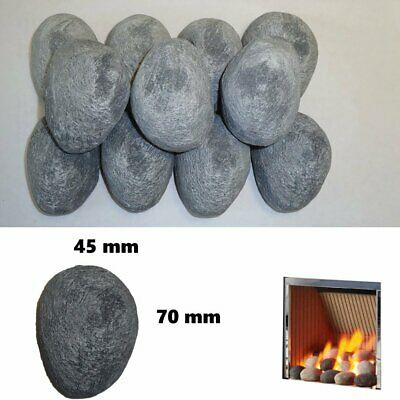 30 Grey pebbles Replacement Gas Fire Coals Heat resistant real flame fires