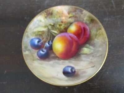 Antique Royal Worcester England Signed Freeman Hand Painted Fruit Pin Dish