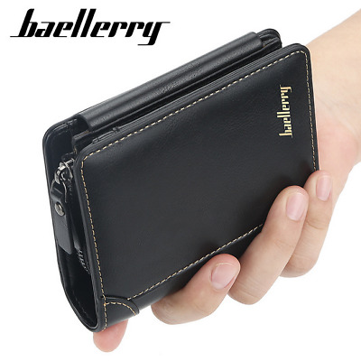 Men's Leather Trifold High Capacity Wallet Credit Card ID Holder Pocket Purse