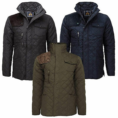 Mens Padded Hunter Jacket Diamond Quilted Coat Cord Patches Winter Soul Star