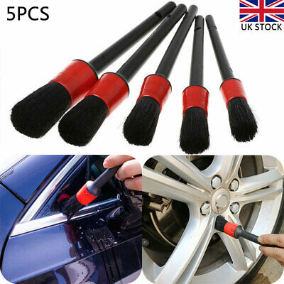 5Pcs Car Detailing Brush Set Wheels Engine Emblems Vents Cleaning Valeting Tools