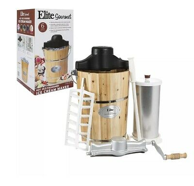 Elite Gourmet EIM-506 6 quart Old-Fashioned Ice Cream Maker with electric motor