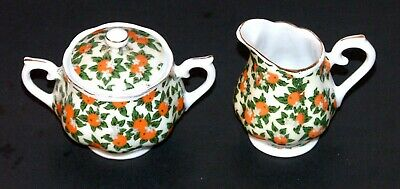 Vintage Souvenir ES Florida Orange Chintz Pattern Creamer and Sugar Bowl