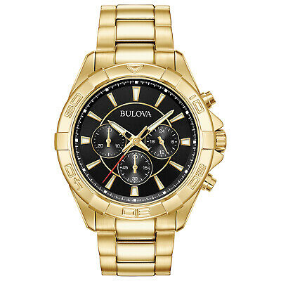 Bulova Men's Quartz Chronograph Black Multi Dial Gold Tone Watch 97A139