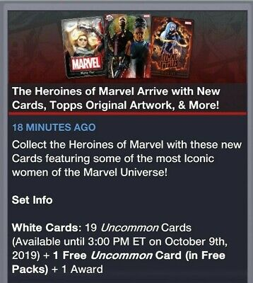 Topps Marvel Collect Card Trader Heroines of Marvel  White Set of 20 - Award Rdy