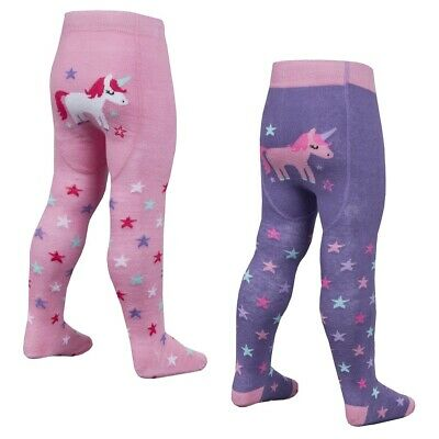 Baby Girl Unicorn Tights Panel with Grippers Pink Purple 0 6 12 18 24M Tick Tock