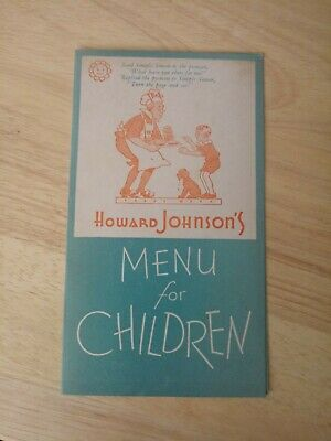 VINTAGE HOWARD JOHNSON'S MENU for CHILDREN - Vintage Restaurant Kids Menu 9c