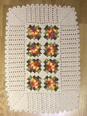 Hand Crochet Ivory with Green And Yellow Flowers Rug.