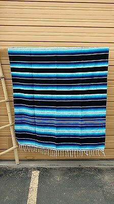 SARAPE XXL,5'X7', Mexican blanket, HOT ROD, Seat covers,MOTORCYCLE, Blue & Black