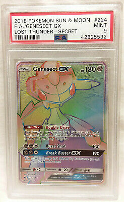 Pokemon 3 GENESECT GX-Hyper Rare #224+Full Art #204+GX #130 LOST THUNDER-MINT