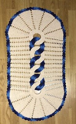 Hand Crochet Ivory and Blue Rug.