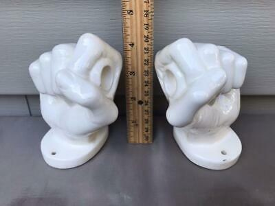 2x Vintage Mid Century White Ceramic Fist Toliet Roll Holder Ends. N.Funk (CA)